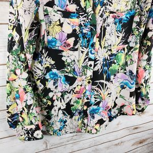 Express Tops - Express Portofino Top Size S Neon Floral Button LS